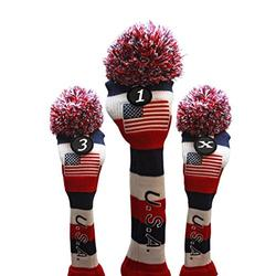 USA Majek Golf Driver 1 3 X Fairway Woods Headcovers Pom Pom Knit Limited Edition Vintage Classic Traditional Flag Stars Red White Blue Stripes Retro Head Cover Fits 460cc Drivers and 260cc Woods