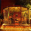 LED Net Lights Christmas Day Decrotion, 200 LED 9.8ft x 6.6ft Fairy String Decorative Mesh Light Warm White for a Wedding Cocktail Party Birthday BBQ Bistro Cafe by YIZHOUER