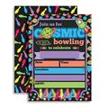 """Cosmic Bowling Birthday Party Invitations for Out of This World Glow in the Dark Bowling Parties, 20 5""""x7"""" Fill In Cards with Twenty White Envelopes by AmandaCreation"""