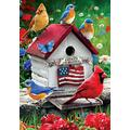 Custom Decor Cardinals, Bluebirds & Patriotic Birdhouse Flags & Matching Mailbox Cover (House Flag - 28x40)