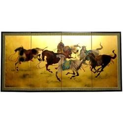 """World Menagerie Maurice 72"""" W x 36"""" H 4- Panel Folding Room Divider Wood in Brown/Yellow, Size 36.0 H x 72.0 W x 0.63 D in   Wayfair"""