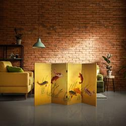 """Bungalow Rose Dials 63"""" W x 36"""" H 4- Panel Folding Room Divider in Yellow, Size 36.0 H x 63.0 W x 0.75 D in   Wayfair"""