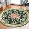 Safavieh Chelsea Floral Handmade Looped Wool Green/Beige Area Rug Wool in Brown/White, Size 48.0 W x 0.25 D in   Wayfair HK321A-4R