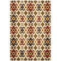 Safavieh Soho Ikat Handmade Tufted Wool Ivory/Red Area RugWool in Brown/Red, Size 162.0 H x 114.0 W x 0.63 D in   Wayfair SOH445A-10
