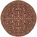 Safavieh Chelsea Oriental Hand Hooked Wool Burgundy Area Rug Wool in Red, Size 96.0 H x 96.0 W x 0.25 D in   Wayfair HK11C-8R