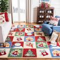 Safavieh Chelsea Handmade Looped Wool Green/Blue/Red Area Rug Wool in Brown/White, Size 99.0 H x 63.0 W x 0.25 D in | Wayfair HK274A-5