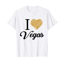 I Heart Love Vegas Las Vegas Souvenir T Shirt Vintage Gold T-Shirt