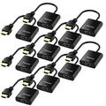 Moread HDMI to VGA with Audio, 10 Pack, Gold-Plated Active HDMI to VGA Adapter (Male to Female) with Micro USB Power Cable & 3.5mm Audio Cable for PS4, MacBook Pro, Mac mini, Apple TV and More - Black