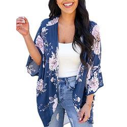 Women 3/4 Sleeve Floral Print Kimono Cardigan Blouse Top(Navy Blue,L)