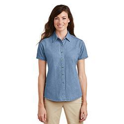 Port & Company Women's Short Sleeve Value Denim Shirt 3XL Faded Blue
