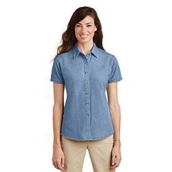 Port & Company Women's Short Sleeve Value Denim Shirt S Faded Blue