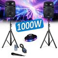 "Pack Sonorisation 15""/38cm 1000W Club DJ Ibiza Sound PKG15A-SET- LED/Radio FM/USB/SD/BLUETOOTH Party + Ovni Festinight"