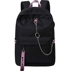 El-fmly Fashion Backpack with USB Charging Port for Travel Lightweight School Bookbags with Cute Letters Strap for Teenage Girls & Children (Black+Pink)