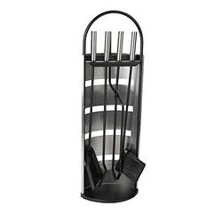 Mind Reader COOLFIRE4-SIL 4 Piece Stand Alone Fire Place Set, Steel Construction, Includes Stand, Brush, Shovel/Scooper, Poker, Tongs Black