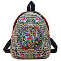 Vintage Embroidered Floral Ethnic Backpack for Women Handbag School Shoulder Bag Girl Mini Travel Rucksack Purse … (Black + Golden)