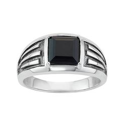 Men's Two Tone Sterling Silver Square Onyx Ring, Size: 10, Black