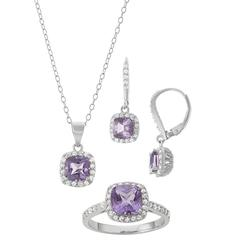 Sterling Silver Amethyst & Lab-Created White Sapphire Halo Jewelry Set, Women's, Size: 7, Purple