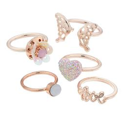 """""""Girls 4-16 Elli by Capelli Butterfly, Heart & """"""""Love"""""""" Ring Set, Girl's, Gold"""""""