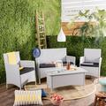 Safavieh Indoor / Outdoor Wicker Chair, Loveseat & Coffee Table 4-piece Set, Multicolor