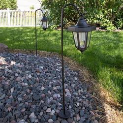 Navarro Outdoor Solar LED Lantern Garden Stake 2-piece Set, Black