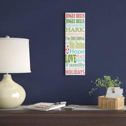 The Holiday Aisle® 'Jingle Bells' Textual Art on Wrapped CanvasCanvas & Fabric in Black/Brown/White, Size 19.0 H x 6.0 W x 2.0 D in | Wayfair