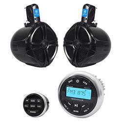 "Rockville RGHR2 Marine Bluetooth Receiver, USB+Remote+(2) 8"" Wakeboard Speakers"