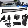 40 Inch 240W Curved LED Light Bar Front Windshield Mount Bracket Kit & 3 Inch 18W Light Pods A-Pillar Mount Brackets Kit with Wiring Kit Compatible with Polaris General 1000 Models 2016-2019
