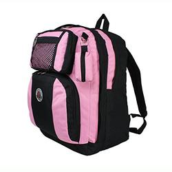 TRANSWORLD Double Gusset 17-inch Backpack, Black Pink