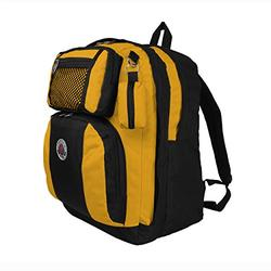TRANSWORLD Double Gusset 17-inch Backpack, Black Yellow