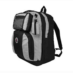 TRANSWORLD Double Gusset 17-inch Backpack, Black Silver