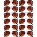 12 Pack Aviator Eyeglasses Metal Gold, Silver, Black Frame Colored Mirror Lens OWL. (Aviator-Gold_Brown-Ls, Colored)