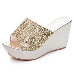 Sequined Bling Women Wedges Slides Sandals Summer Fashion Platform Sandals Mid Heel Peep Toe Dress Slippers Shoes gold 6.5-38