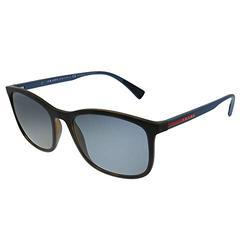 Prada PS 01TS U61144 Havana Rubber Plastic Rectangle Sunglasses Grey Polarized Lens