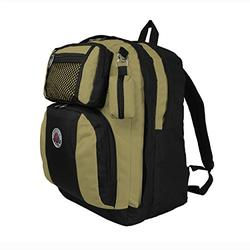 TRANSWORLD Double Gusset 17-inch Backpack, Black Khaki