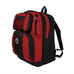 TRANSWORLD Double Gusset 17-inch Backpack, Black Red