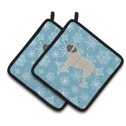 East Urban Home Winter Snowflakes English Mastiff Potholder Polyester in Blue/Gray, Size 7.5 W in | Wayfair AB50E8CE9B3F4DDEACEE69E0A1B9551F