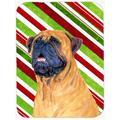 Red Barrel Studio® Red Barrel Studio Lachlan Mastiff Candy Cane Holiday Christmas Glass Cutting BoardGlass, Size 0.15 H x 15.38 W x 11.25 D in
