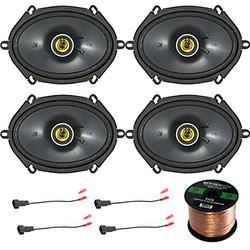 4X Kicker 450W 6x8 CS Series 2-Way Black Car Coaxial Speakers, 4X Enrock 16 Gauge Speaker Harness Adapter W/Red Bullet for Select Ford Vehicles 1998-UP, Enrock Audio 16-Gauge 50 Foot Speaker Wire