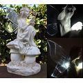 "Outdoor Garden Decor Solar Fairy Angel/Cherub Statue Sculpture Light LED, yard decoration, solar angel lights outdoor, solar angel birdbath light 12"" (Fairy/Aber LED)"
