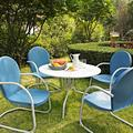 Griffith Metal Outdoor Dining 5-piece Set, Blue
