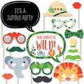 Big Dot of Happiness Jungle Party Animals - Safari Zoo Animal Birthday Party or Baby Shower Photo Booth Props Kit - 20 Count