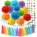 Rainbow Birthday Decorations Rainbow Party Supplies Tissue Paper Pom Pom Paper Garland for Rainbow Baby Shower Decorations/Rainbow Birthday Party Decorations/Back to School Party Decorations