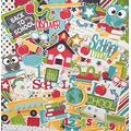 """Die Cuts & Paper Set - Back to School - by Miss Kate Cuttables - 16 Single - Sided 12""""x12"""" Premium Specialty Paper Sheets & Over 60 Coordinating Die Cuts"""
