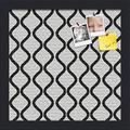 ArtToFrames PinPix 12x12 Inch Custom Cork Bulletin Board. This Waves in Black and White Pin Board Has a Fabric Style Canvas Finish, in a Satin Black Frame (PinPix-194-12x12_FRBW26079)