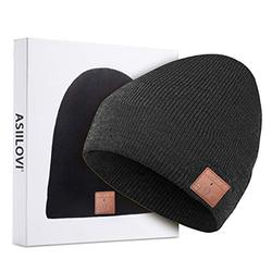 ASIILOVI Bluetooth Beanie, Bluetooth 5.0 Wireless Winter Warm Knit Hats Cap with Double Fleece Lined, Mic and HD Speakers, Gifts for Men Family Thanksgiving Christmas-Unisex(001-Charcoal)