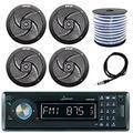 "Lanzar AQMP70BTB Single DIN in Dash Bluetooth AUX USB MMC SD MP3 Boat Receiver, 4X Pyle PLMRS6B 6.5"" Marine 2 Way 240 Watts Black Speakers, Enrock 18g Speaker Wire, 40"" Antenna"