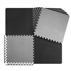 innhom Gym Flooring Gym Mats Exercise Mat for Floor Workout Mat Foam Floor Tiles for Home Gym Equipment Garage, 6 Black and 6 Gray