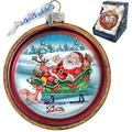 The Holiday Aisle® Joyful Sleigh Ride Cut Ball Glass Ornament Holiday Splendor Collection Glass in Blue/Green/Red, Size 3.5 H x 3.5 W x 3.0 D in