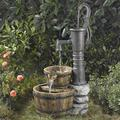Fast Furnishing Outdoor Water Pump Half Whiskey Barrel Style Water Fountain