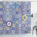 """Ambesonne Blue Shower Curtain, Rich Pattern of Ancient Moroccan Tiles Patchwork Style Pattern Oriental Arabesque, Cloth Fabric Bathroom Decor Set with Hooks, 70"""" Long, Multicolor"""